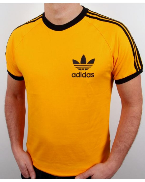 Adidas Originals Retro 3 Stripes T-shirt Gold
