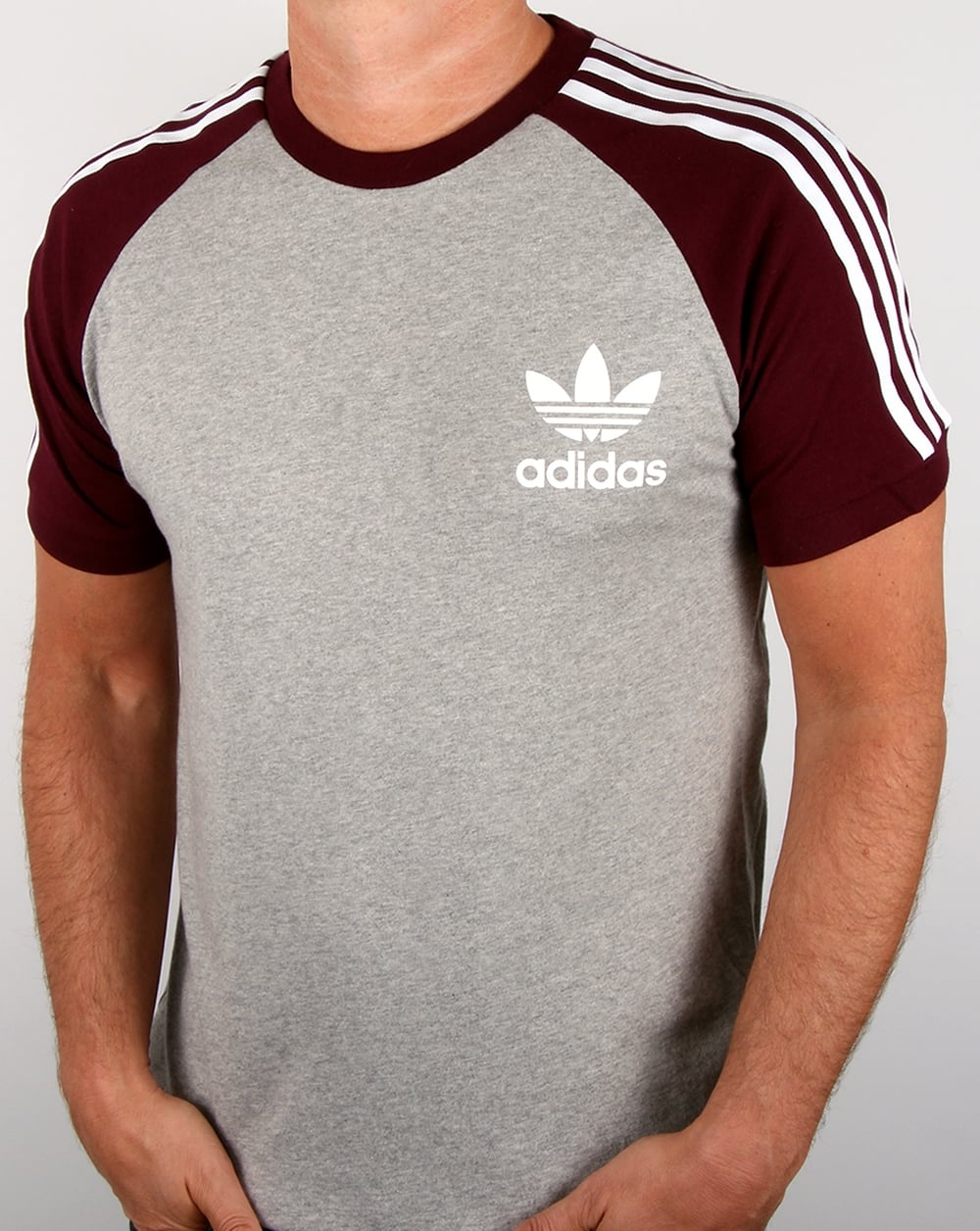 Adidas Originals Retro 3 Stripes T shirt Greymaroon