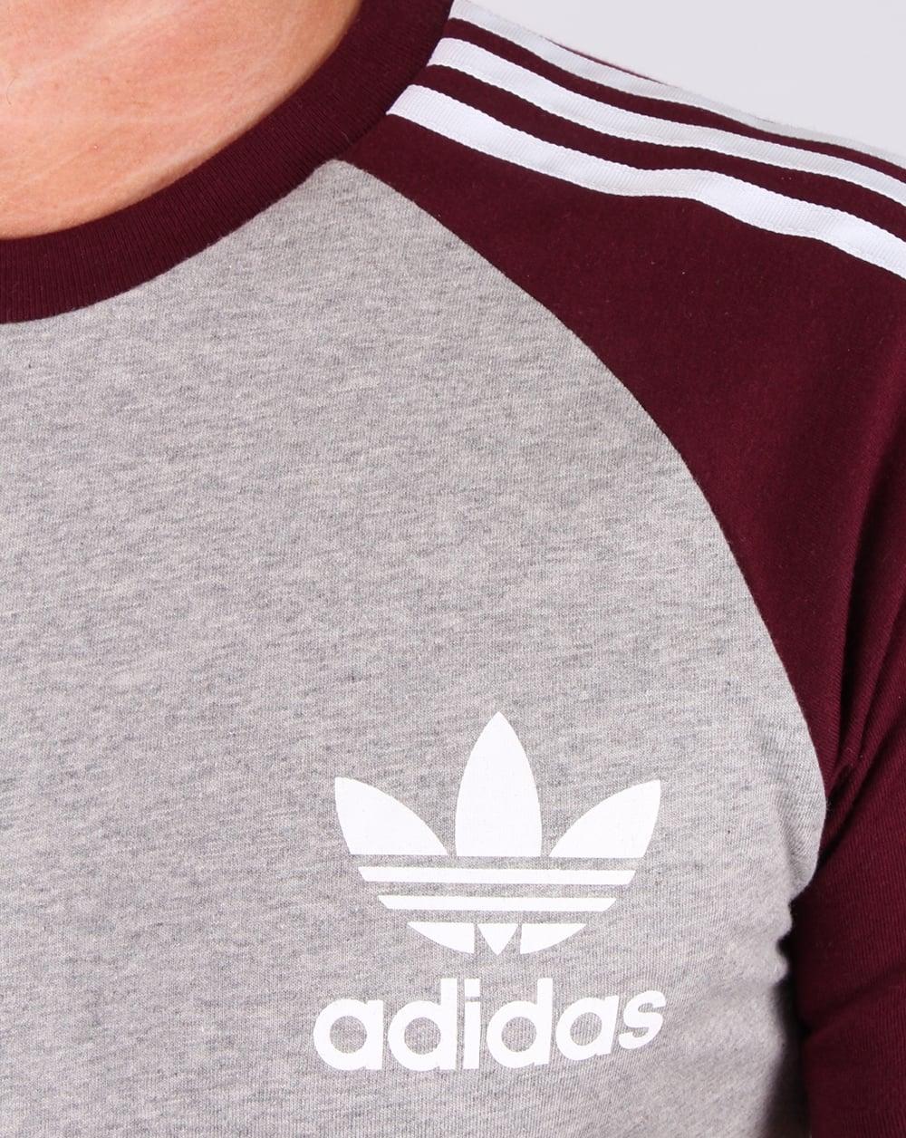 1d993c75e7 Adidas Originals Retro 3 Stripes T-shirt Light Grey/maroon, Men's, Tee