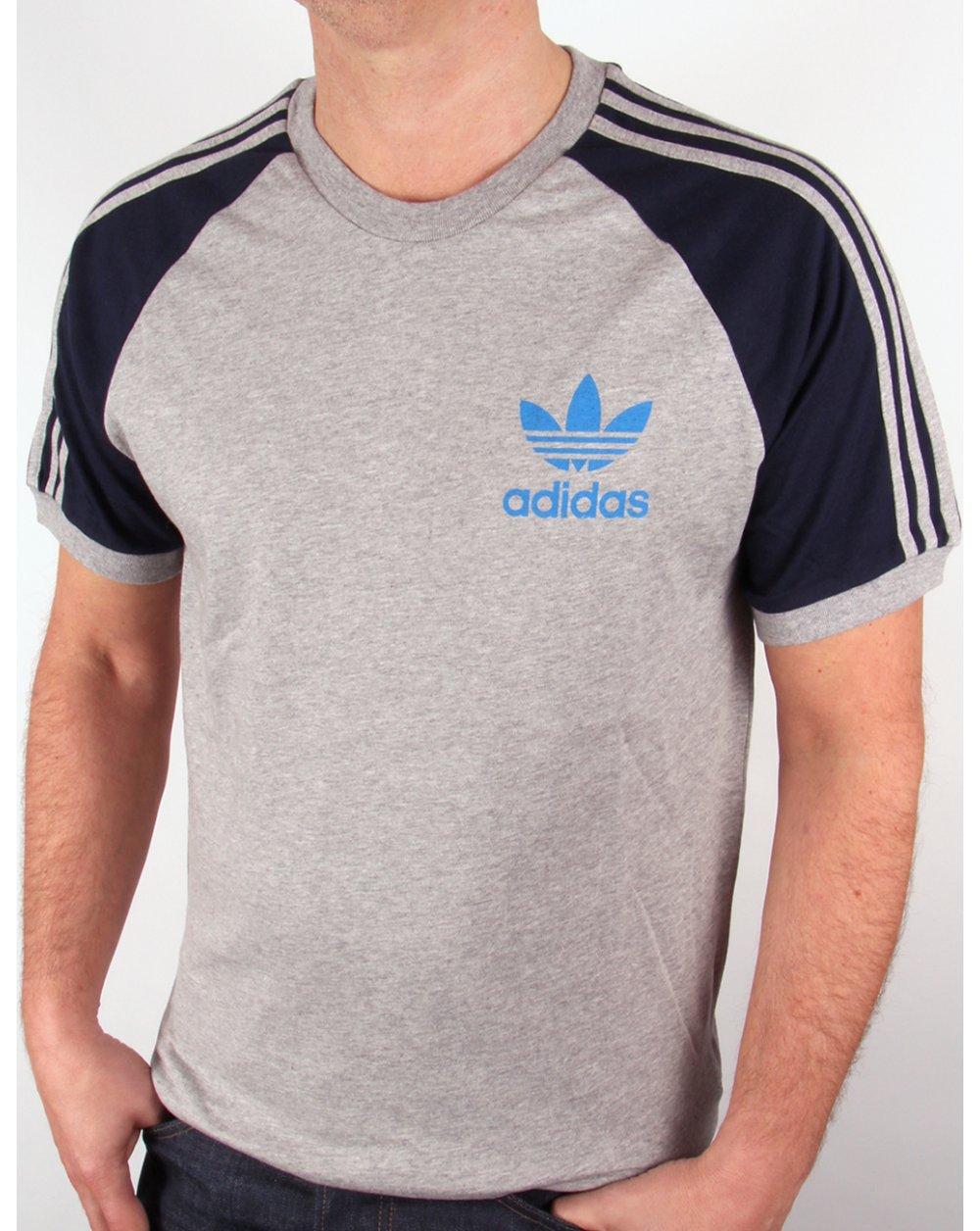 Adidas originals retro 3 stripes t shirt heather grey navy for Mens heather grey t shirt