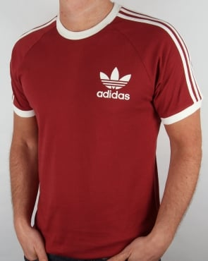 Adidas Originals Retro 3 Stripes T Shirt Mystery Red
