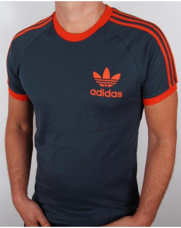 Adidas Originali Retrò 3 Strisce T - California Shirt Marina / Orange, California - 220402