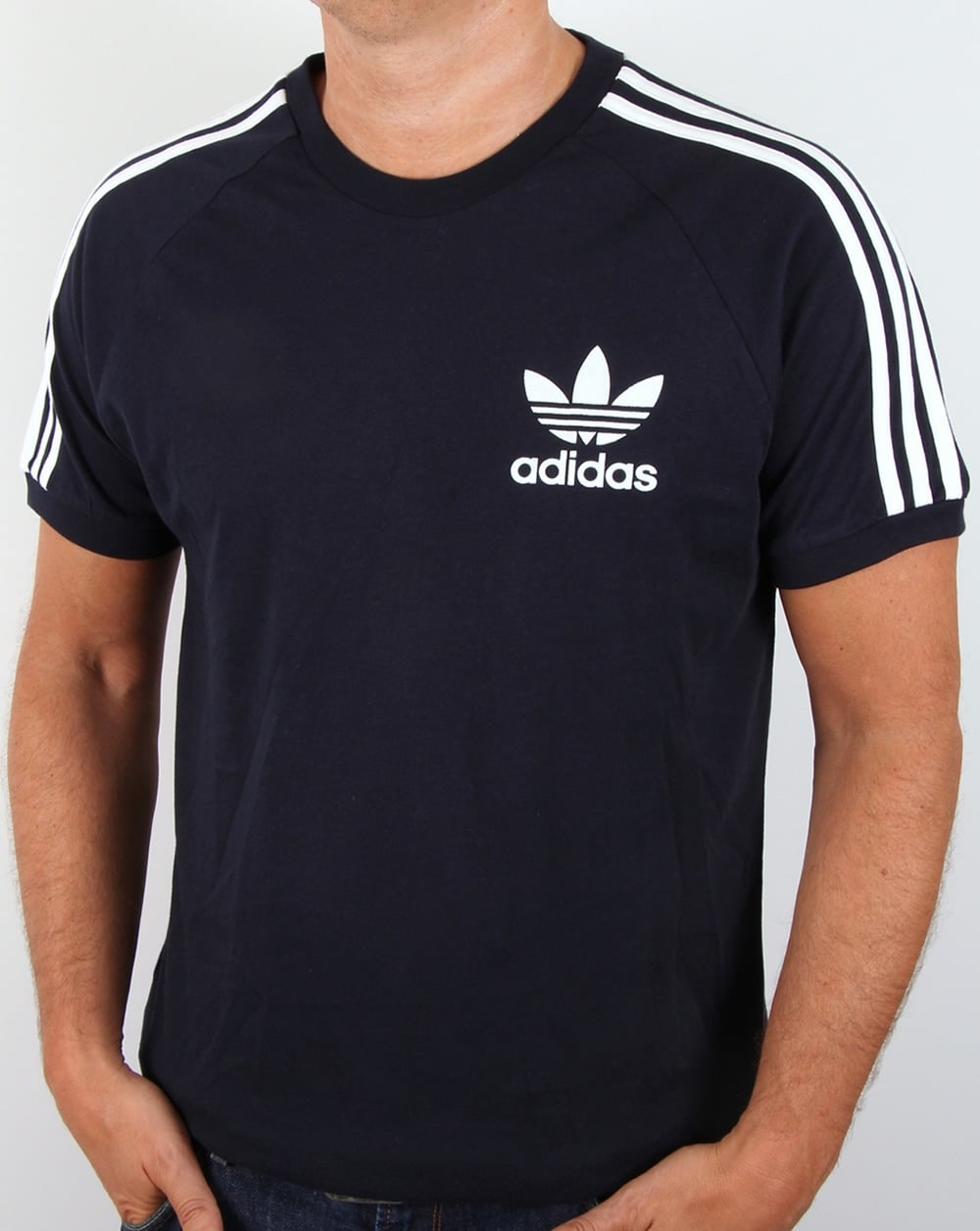 adidas originals retro 3 stripes t shirt navy california. Black Bedroom Furniture Sets. Home Design Ideas