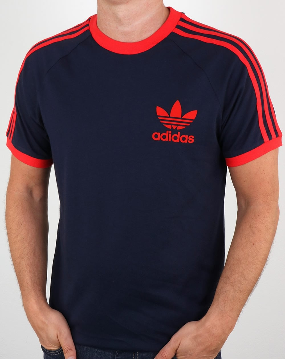 Adidas t shirt navy red california 3 stripes for Adidas lotus t shirt