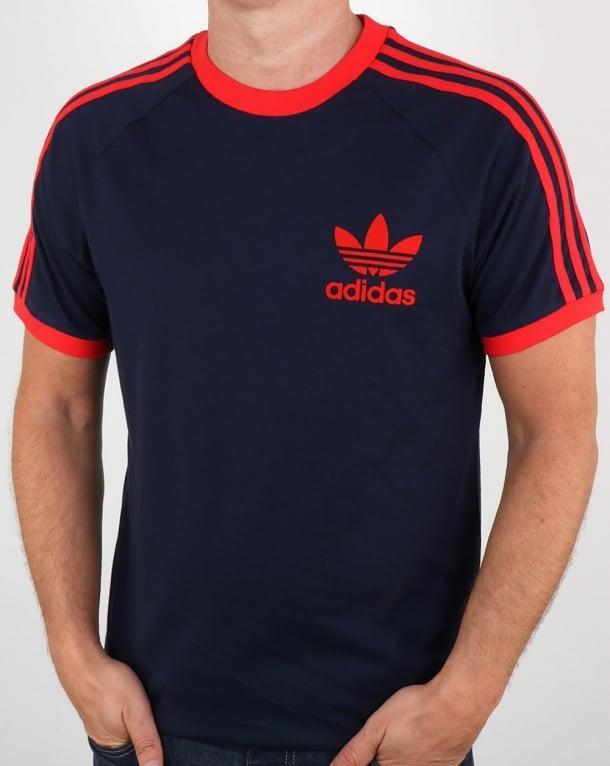 adidas t shirt navy red california 3 stripes. Black Bedroom Furniture Sets. Home Design Ideas
