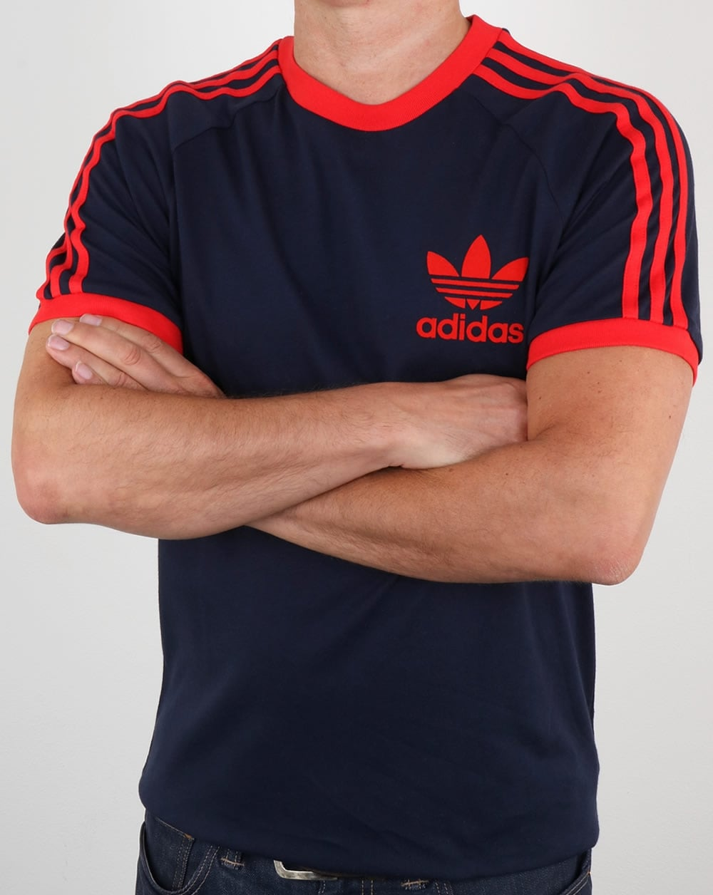 adidas t shirt navy red california 3 stripes. Black Bedroom Furniture Sets. Home Design Ideas
