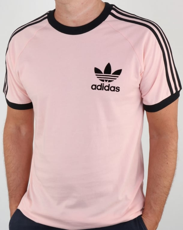 Adidas Originals Retro 3 Stripes T Shirt Pink/Black
