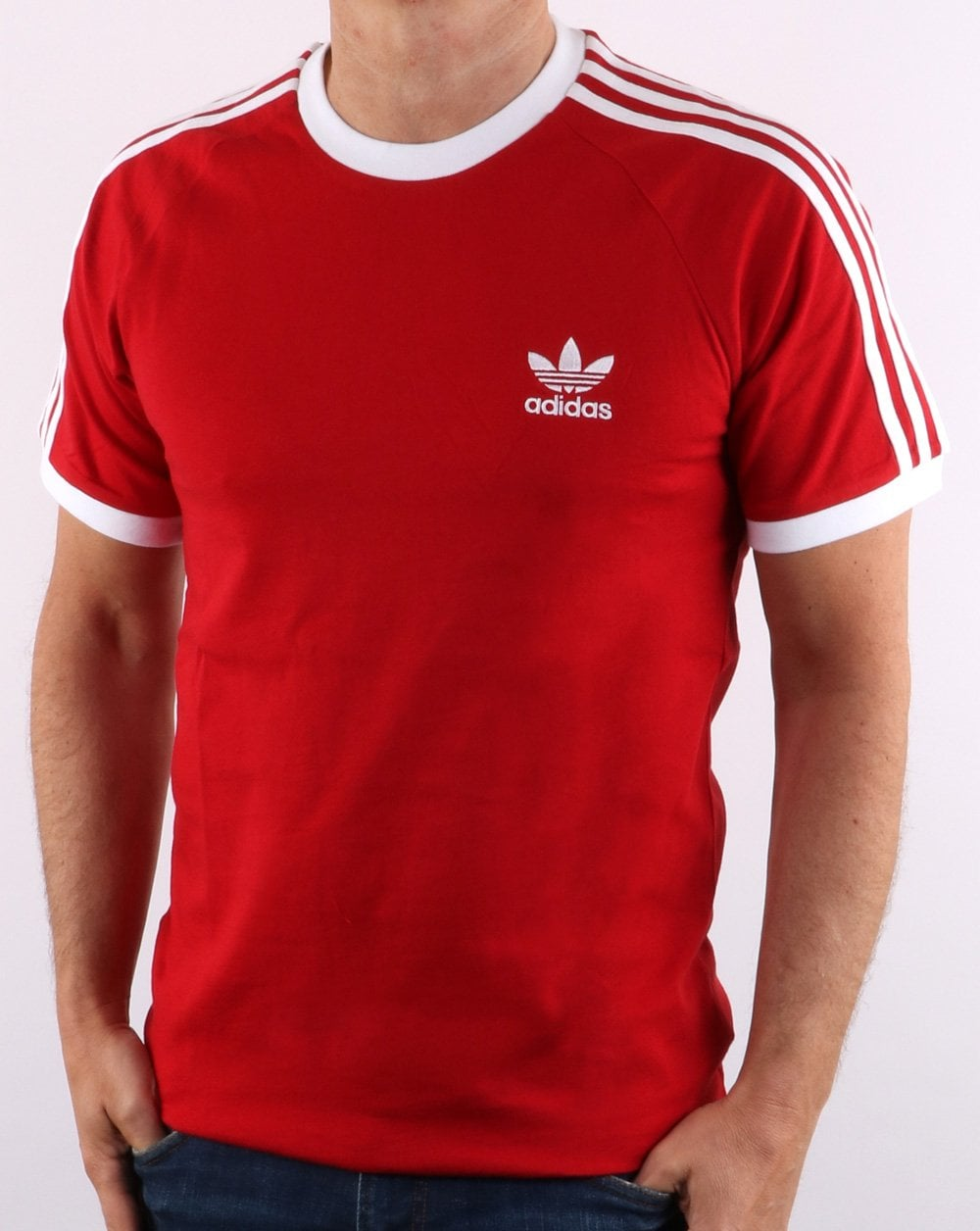 Adidas Originals Retro 3 Stripes T Shirt Red