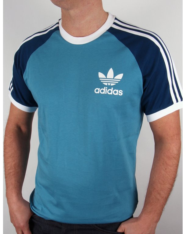 Adidas Originals Retro 3 Stripes T-shirt Sea Blue/navy Blue