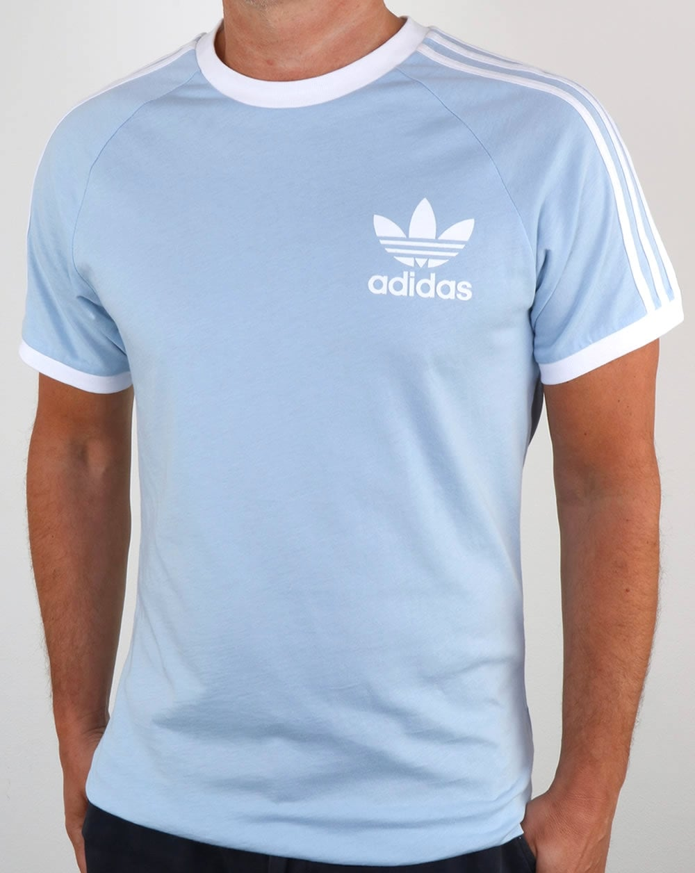 adidas Originals Adidas Originals Retro 3 Stripes T Shirt Sky Blue