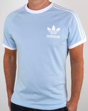 Adidas Originals Retro 3 Stripes T Shirt Sky Blue
