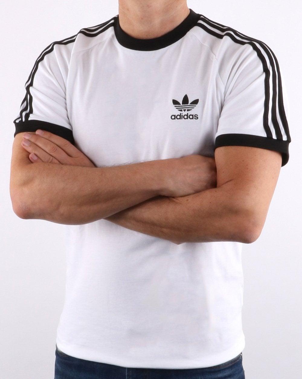 ab535cbb Adidas Originals Retro 3 Stripes T-shirt White,california,trefoil,tee