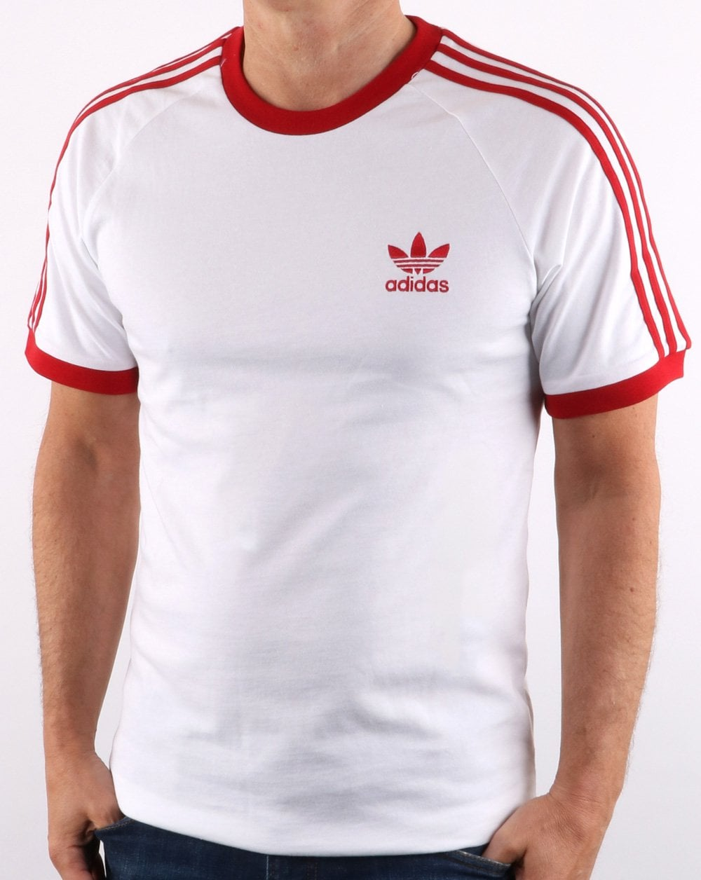 04f2e128b7c3a adidas Originals Adidas Originals Retro 3 Stripes T Shirt White/ Red