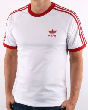 775da3ea12c3 Adidas Originals Retro 3 Stripes T Shirt White  Red