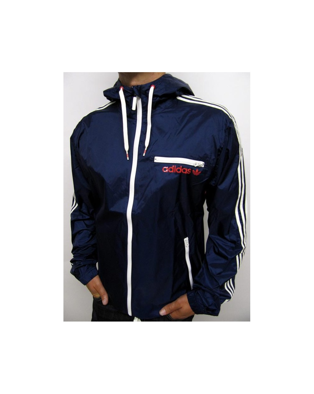 Adidas Originals Retro Rainproof Jacket Navy White