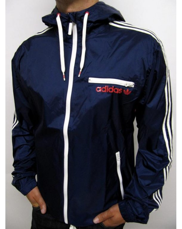 adidas originals retro rainproof jacket navy white adidas originals rainproof windbreaker. Black Bedroom Furniture Sets. Home Design Ideas