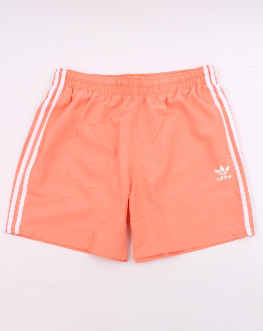 Imposible a la deriva De acuerdo con  Adidas Originals 3 Stripes Swim Shorts Chalk Coral | 80s Casual Classics