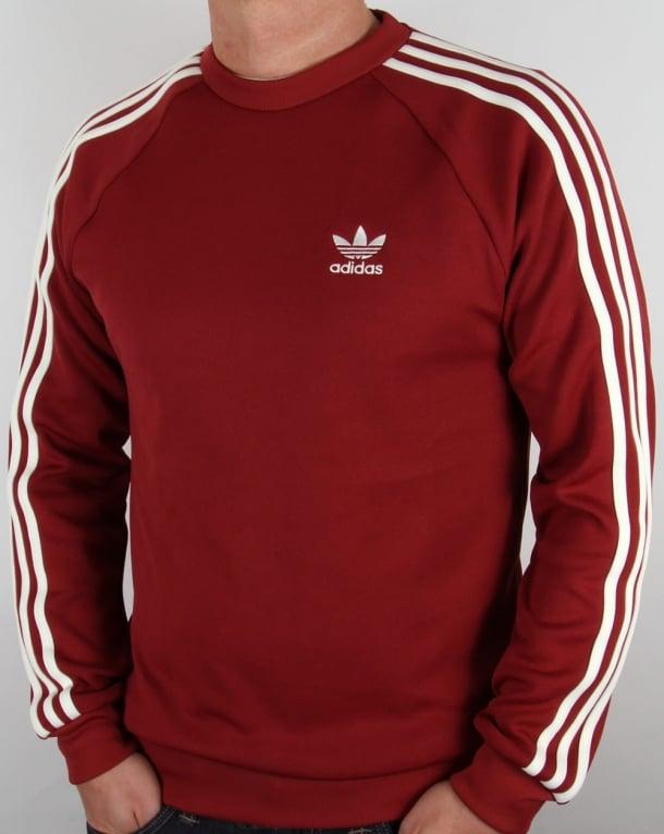 Adidas Originals Superstar Crew Neck Mystery Red,crew neck,jumper,mens e25b7f80e523