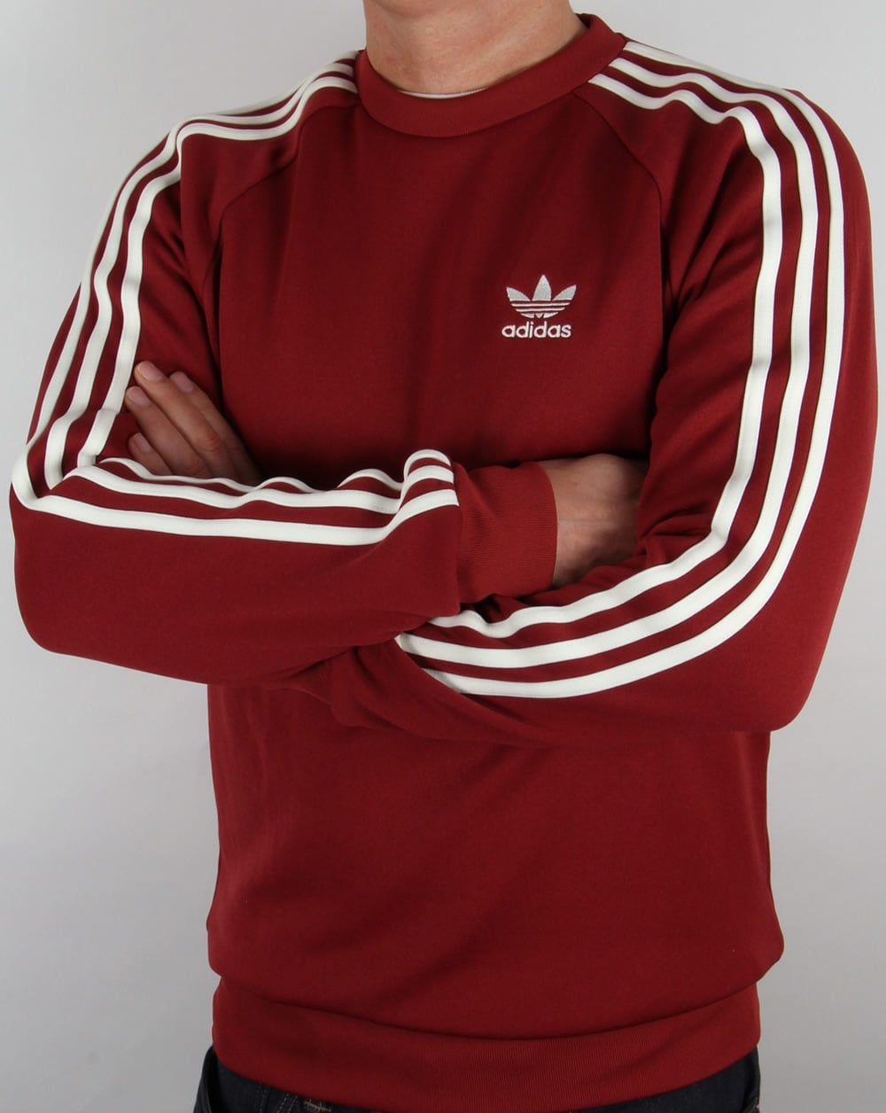 adidas originals superstar crew neck mystery red crew neck. Black Bedroom Furniture Sets. Home Design Ideas