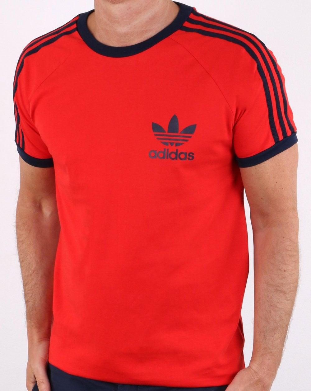 5f8a79fee2b adidas Originals Adidas Originals Retro Trefoil 3 Stripes T-shirt Red