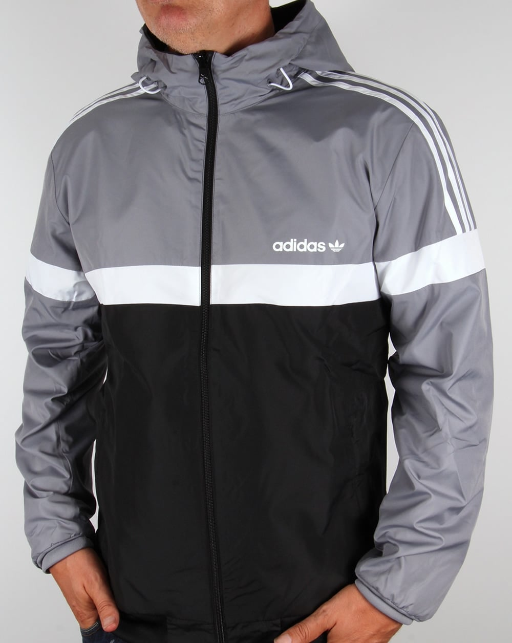 adidas originals reversible windbreaker grey black jacket. Black Bedroom Furniture Sets. Home Design Ideas