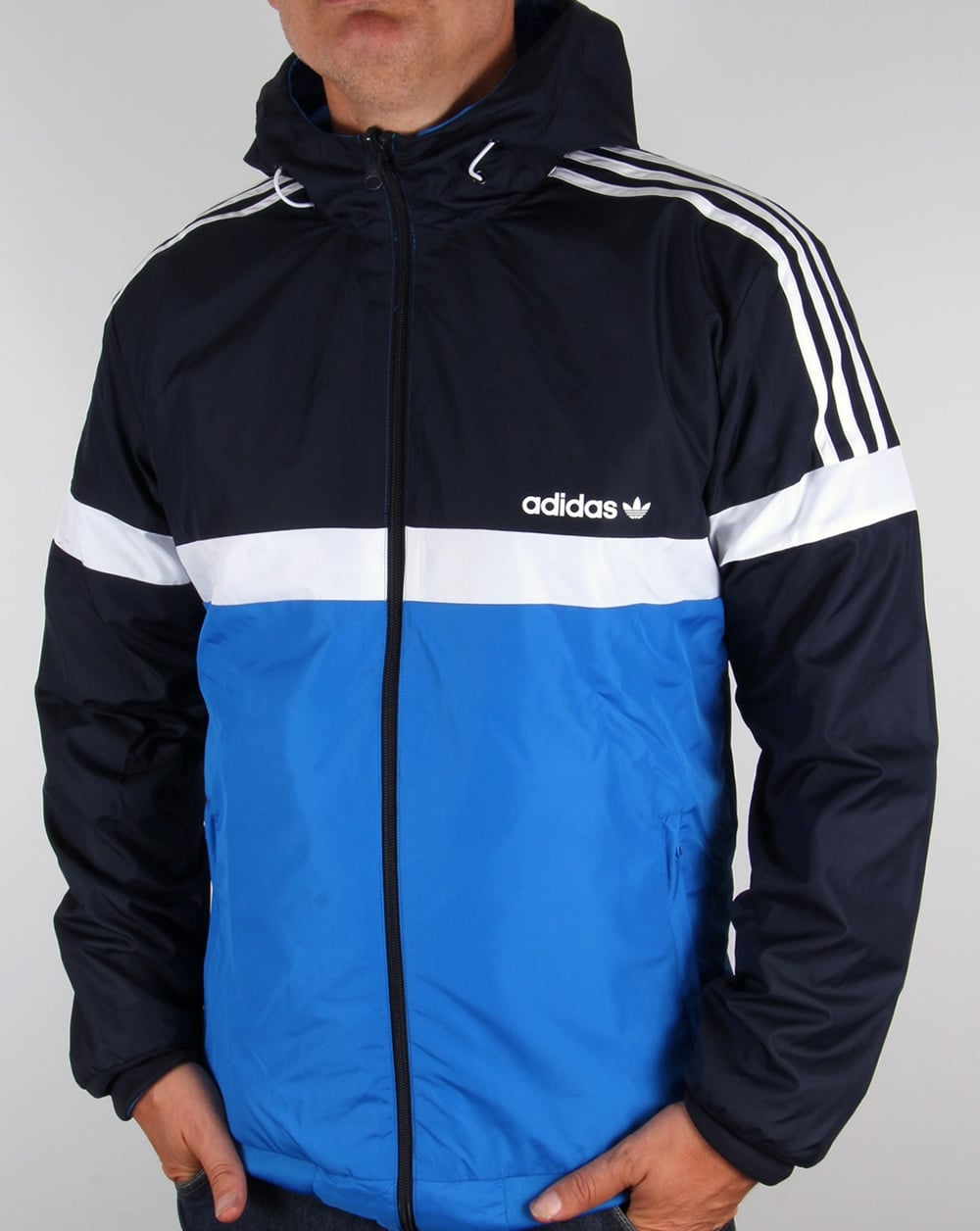 adidas originals reversible windbreaker navy bluebird. Black Bedroom Furniture Sets. Home Design Ideas