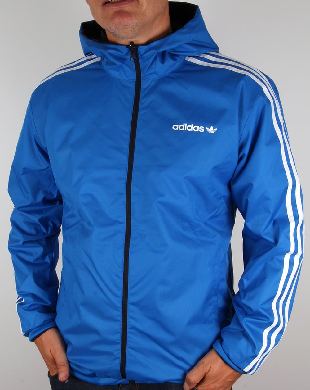bb4cd2757eb9 Adidas Originals Reversible Windbreaker Navy Bluebird