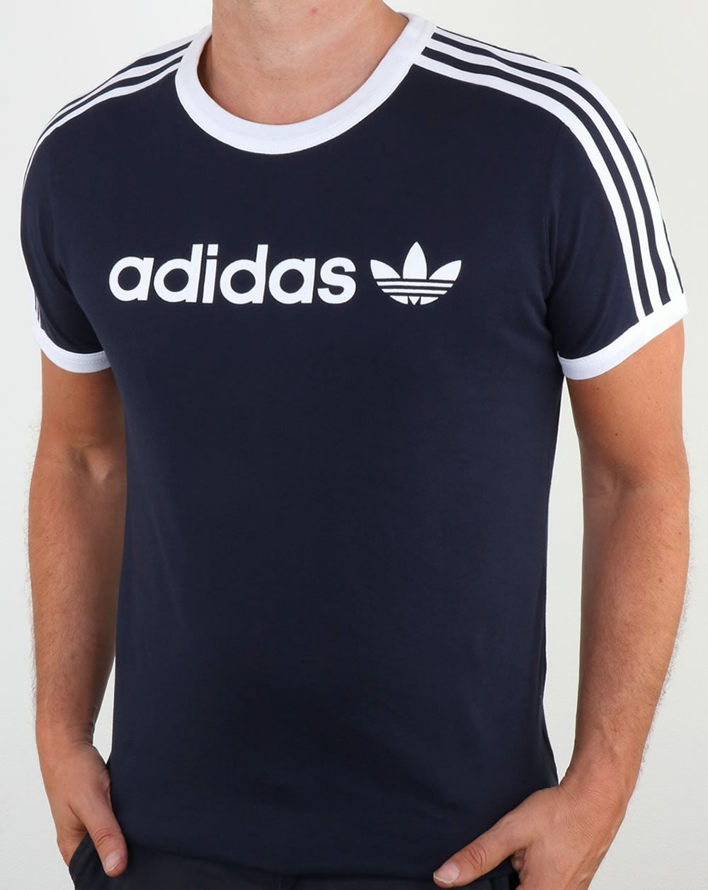 adidas originals linear t shirt legend ink ringer 3 stripes tee mens. Black Bedroom Furniture Sets. Home Design Ideas