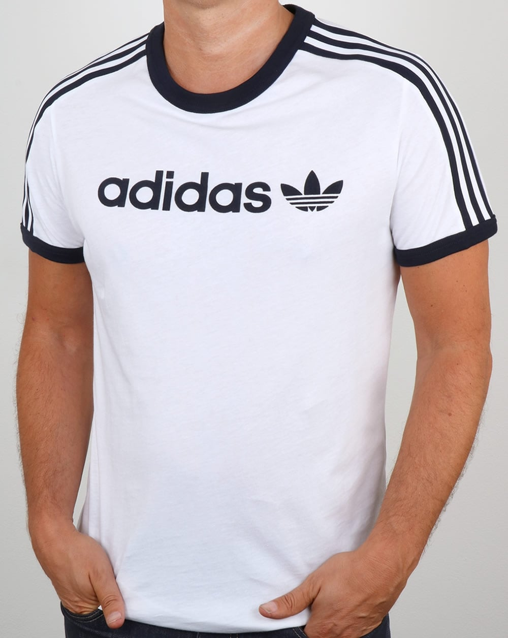 adidas originals linear t shirt white ringer 3 stripes tee ForAdidas Ringer T Shirt
