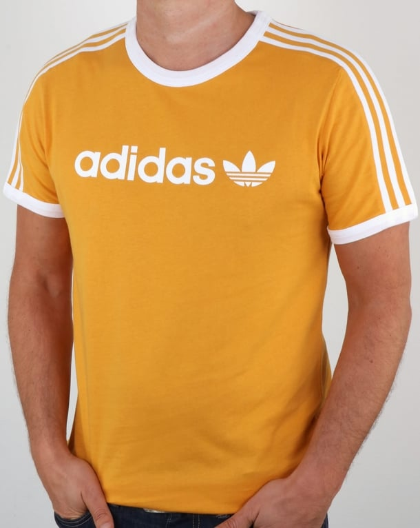 Adidas originals linear t shirt tactile yellow ringer 3 for Adidas ringer t shirt