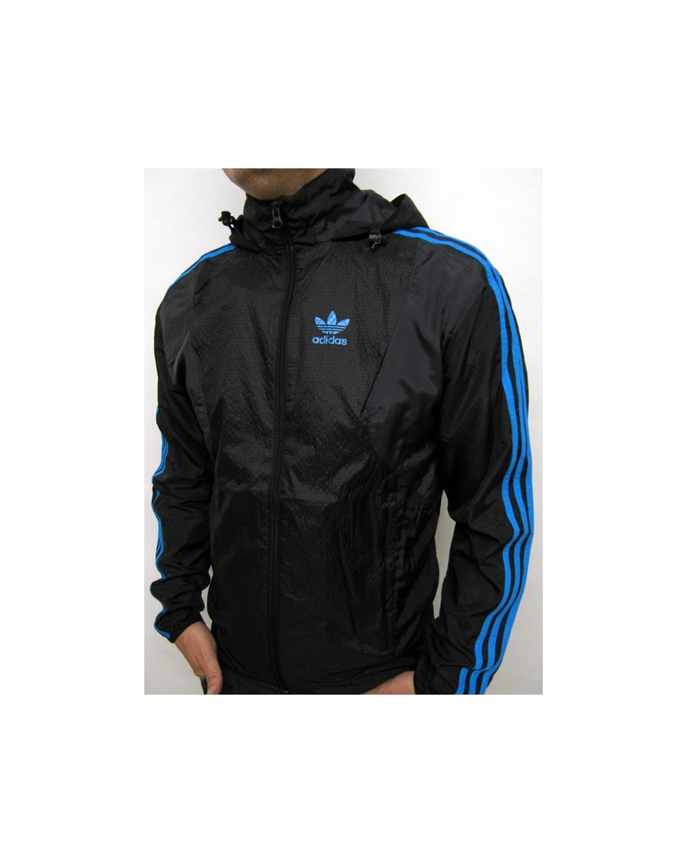 Adidas Originals Seersucker Windbreaker Carbon Black Adidas