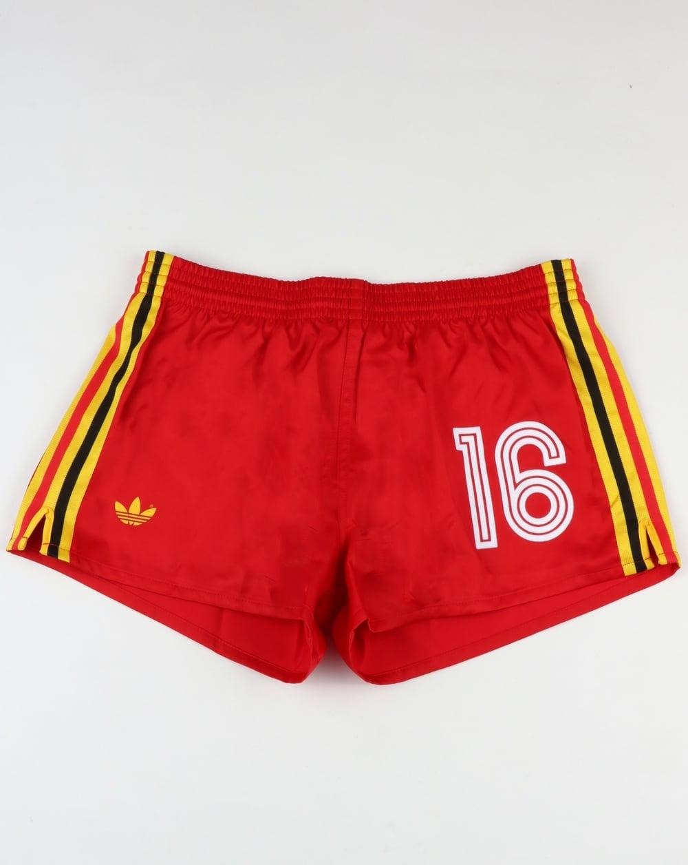 entonces Arco iris Oeste  Adidas Originals Belgium Shorts Victory Red,football,retro,shiny,mens
