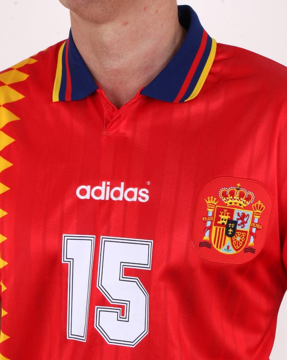Adidas Originals Spain Jersey Red Mens Football World Cup 1994 Fashion Big Size T Shirt 3xl