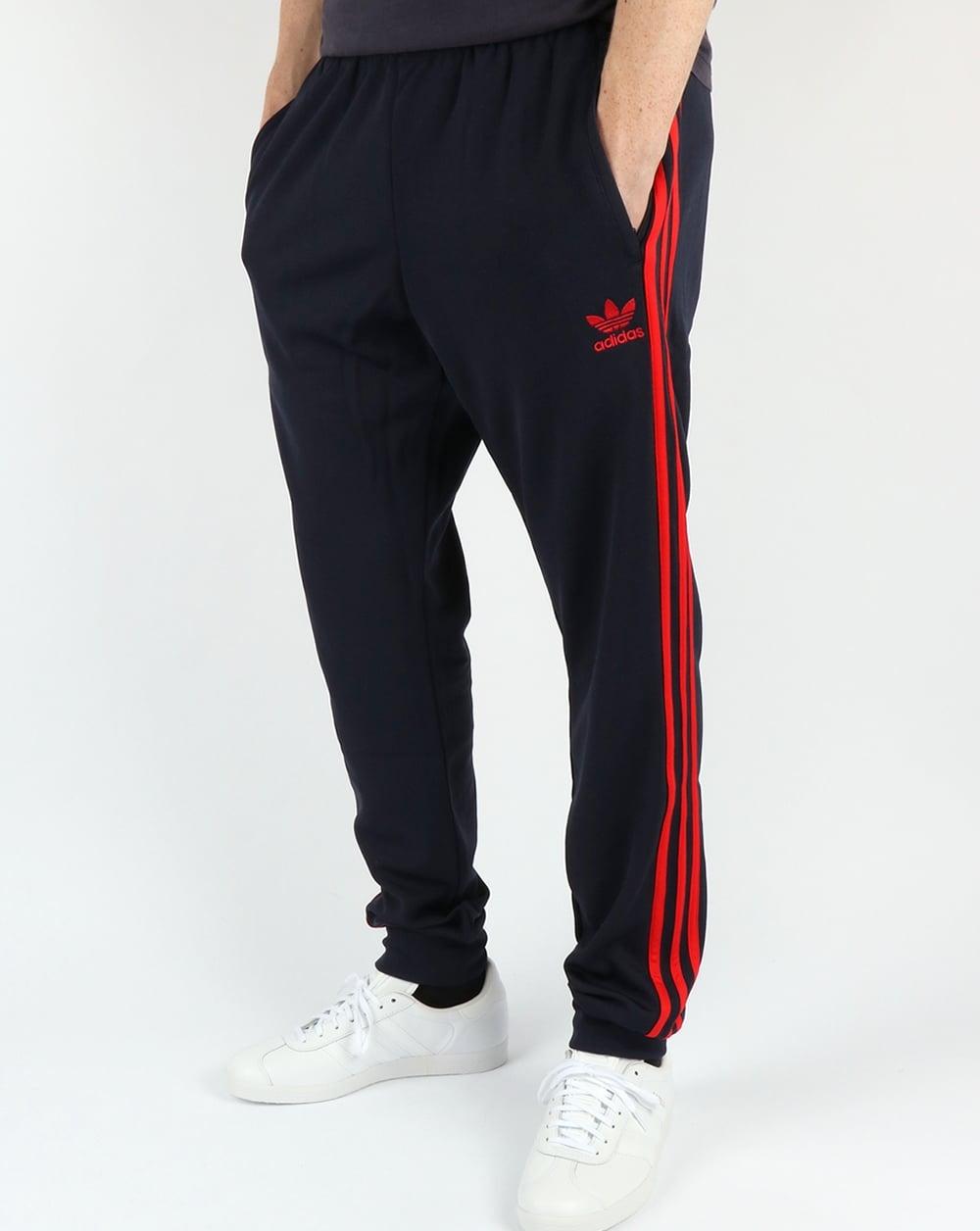 adidas originals superstar cuffed track pants navy red tracksuit bottoms. Black Bedroom Furniture Sets. Home Design Ideas