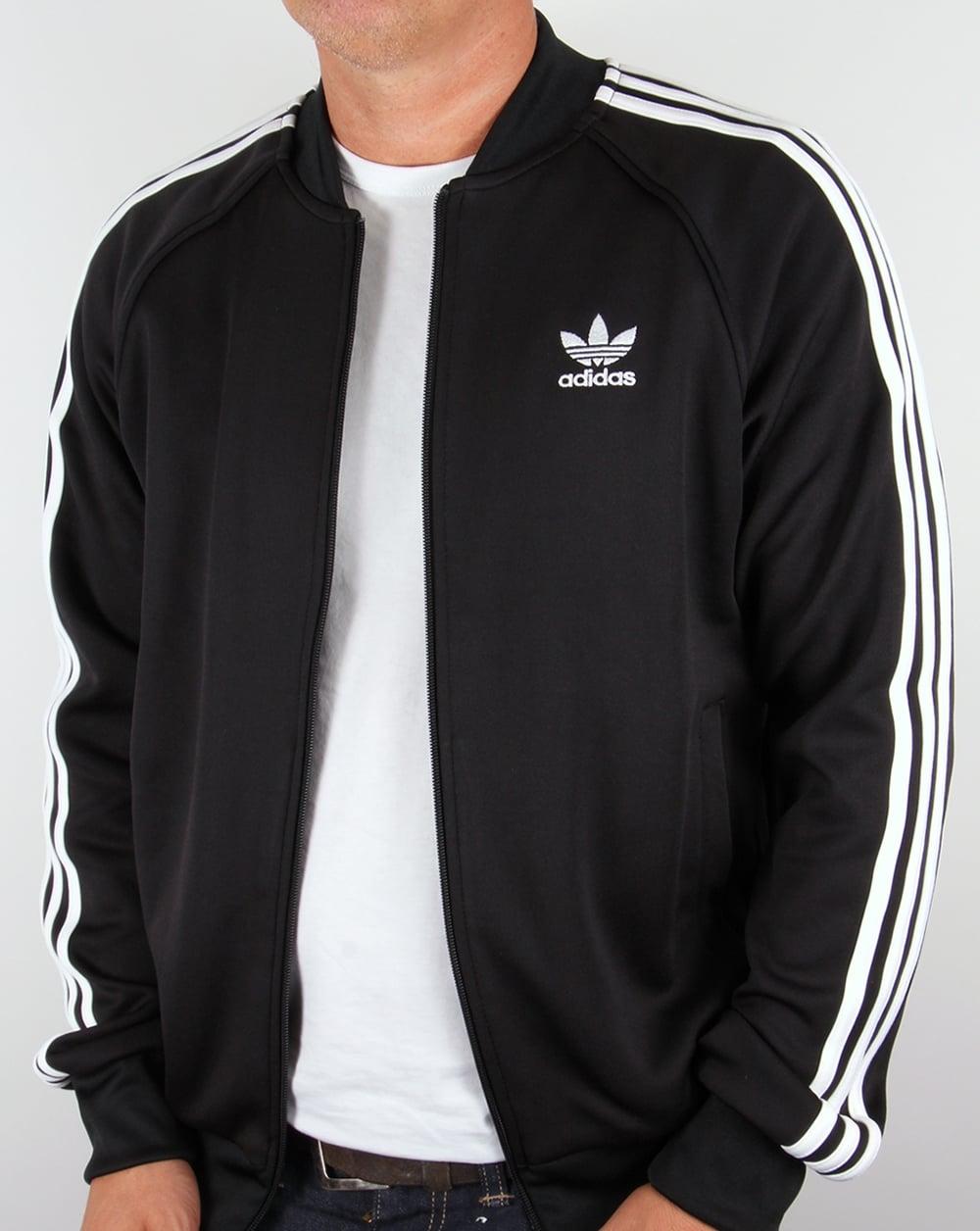 adidas originals superstar black tracksuit tops