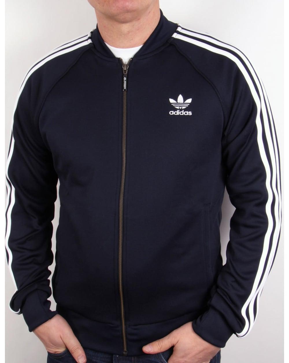 Adidas Top Ten Hi Sleek Bow Zip Trainers: Adidas Originals Superstar Track Top Navy Blue / Legend