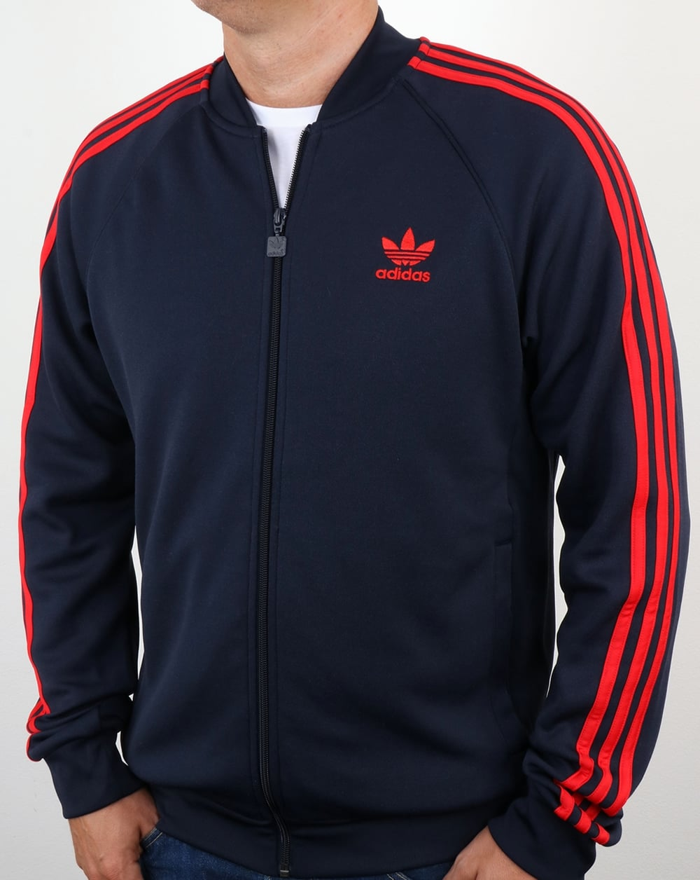 adidas originals superstar track top navy red tracksuit. Black Bedroom Furniture Sets. Home Design Ideas