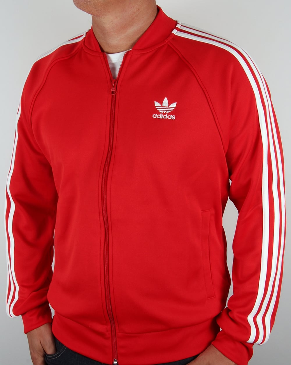 Chaqueta De Estrella Rojo / Blanco Rayas De Adidas Men zexXfwr9y