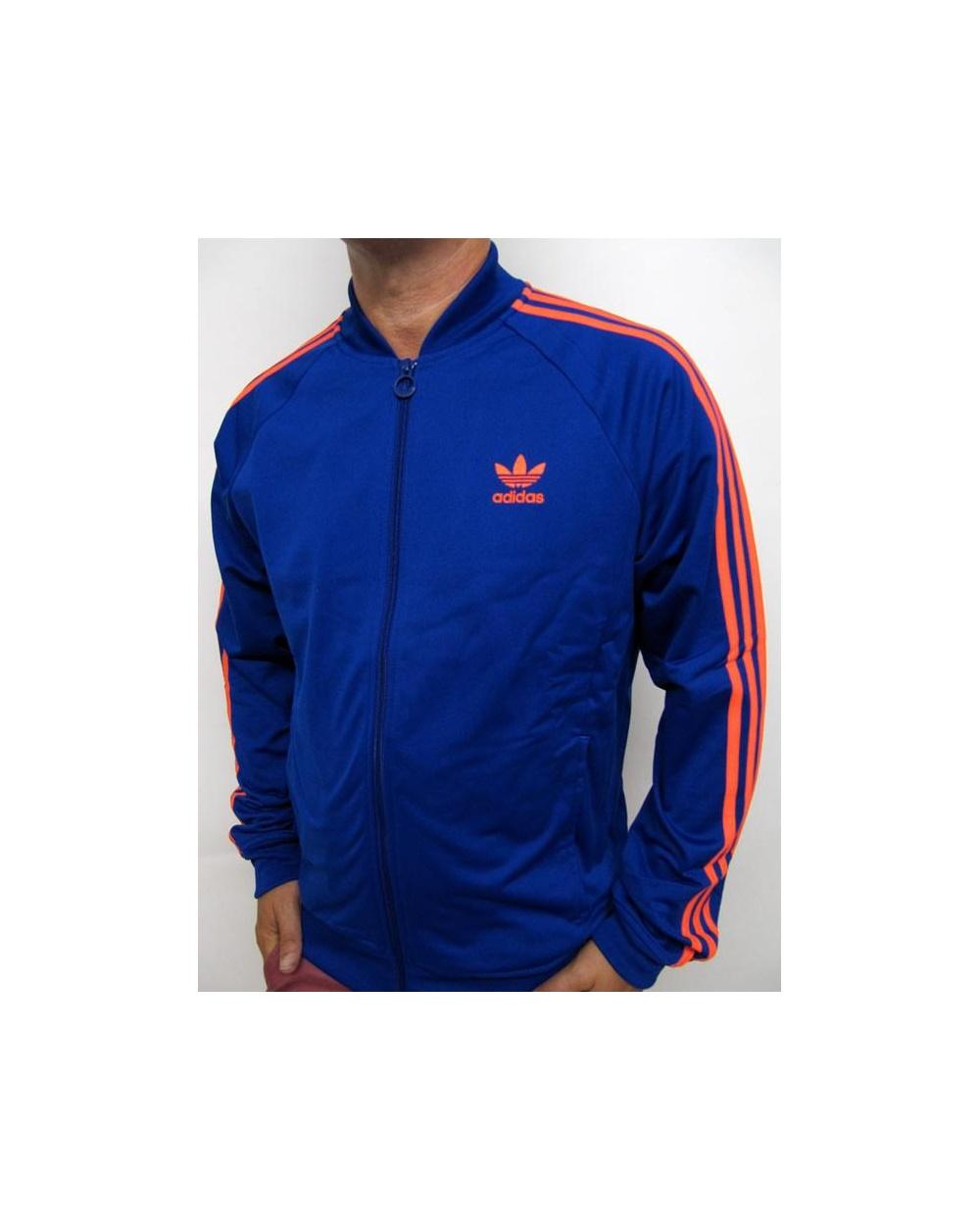 Adidas Top Ten Hi Sleek Bow Zip Trainers: Adidas Originals Superstar Track Top Royal/Infra Red
