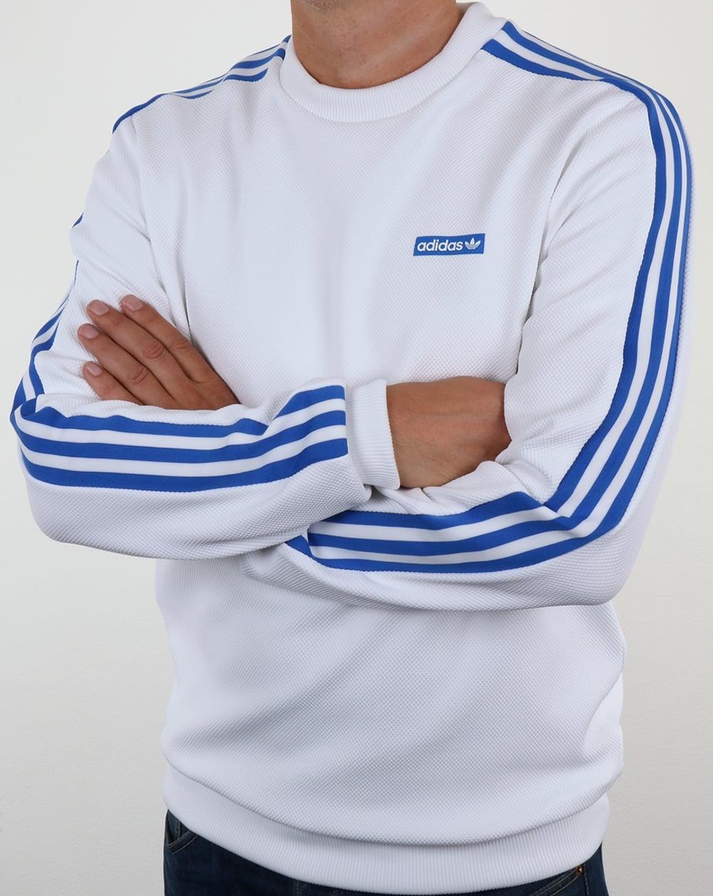 top fashion on wholesale hot sale Adidas Originals Tennoji Crew Sweat White/Blue