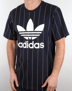 Adidas Originals TKO Pinstripe T Shirt Navy