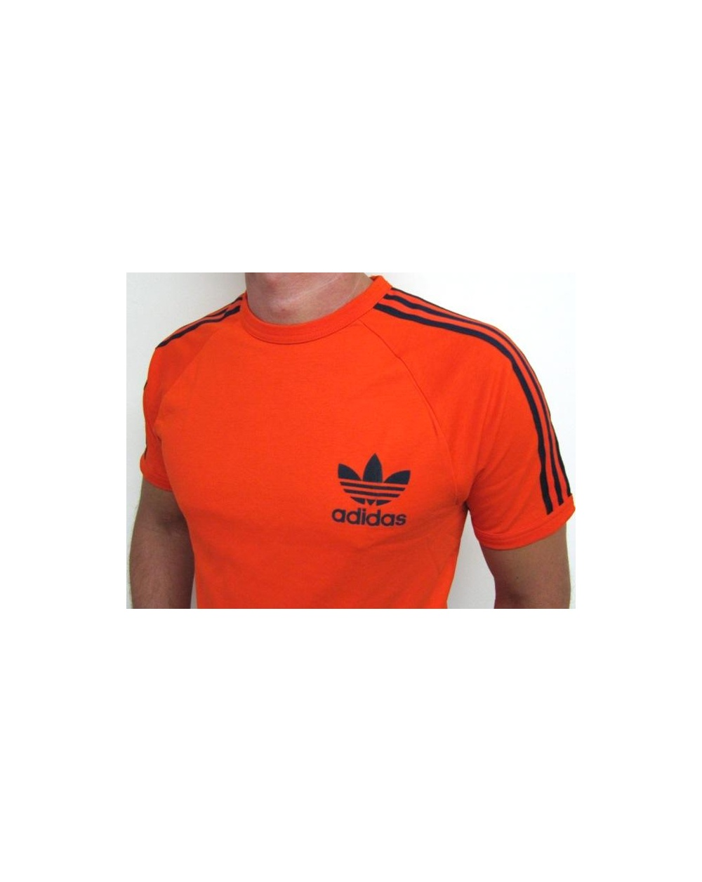 Adidas originals trefoil 3 stripes t shirt orange adidas for Adidas lotus t shirt