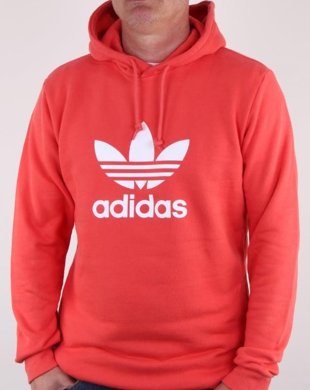 Adidas originali trifoglio e tracce di scarlet, Uomo, cappuccio, cotone