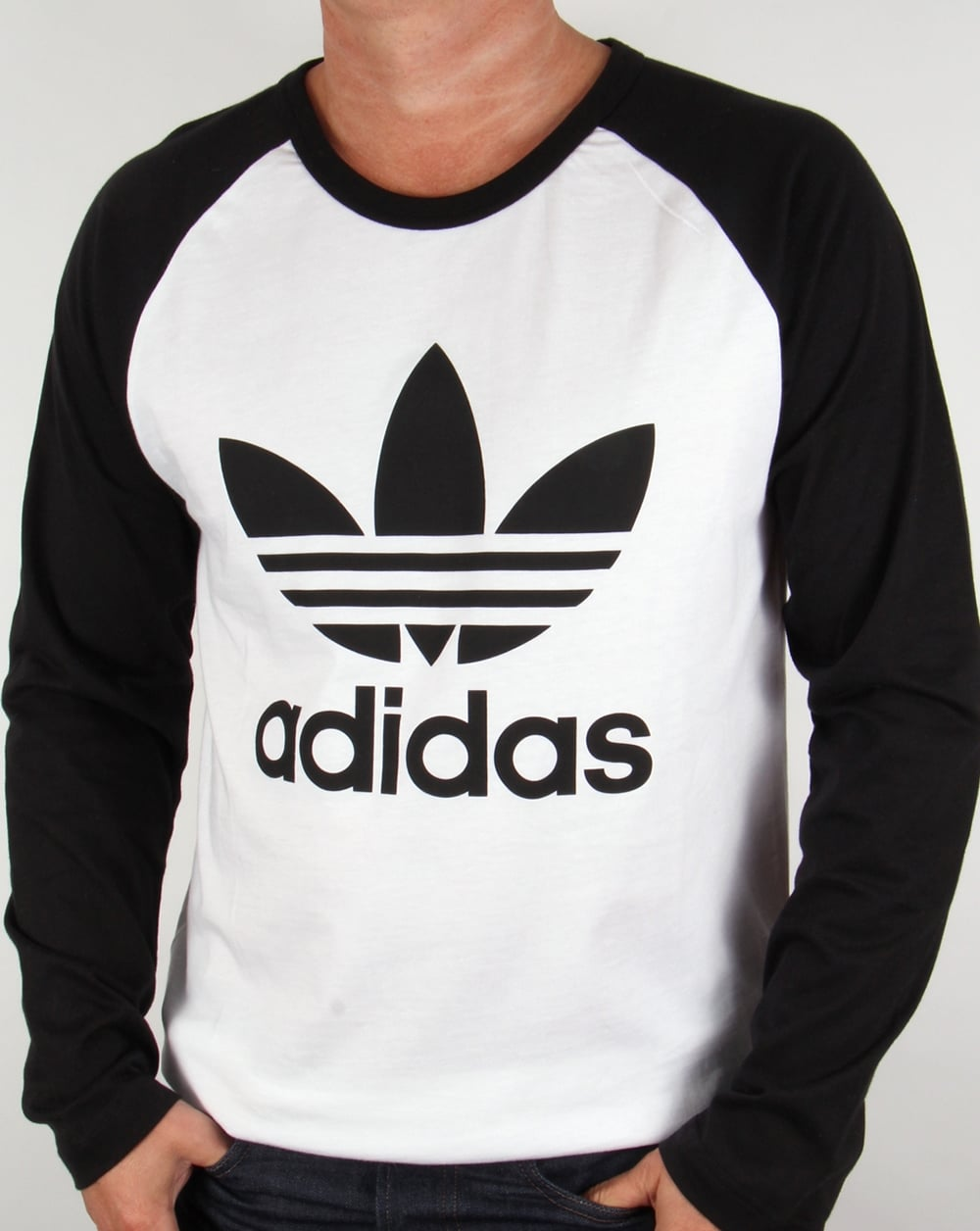 Adidas t shirt black white - Adidas Originals Trefoil Long Sleeve Raglan T Shirt White Black