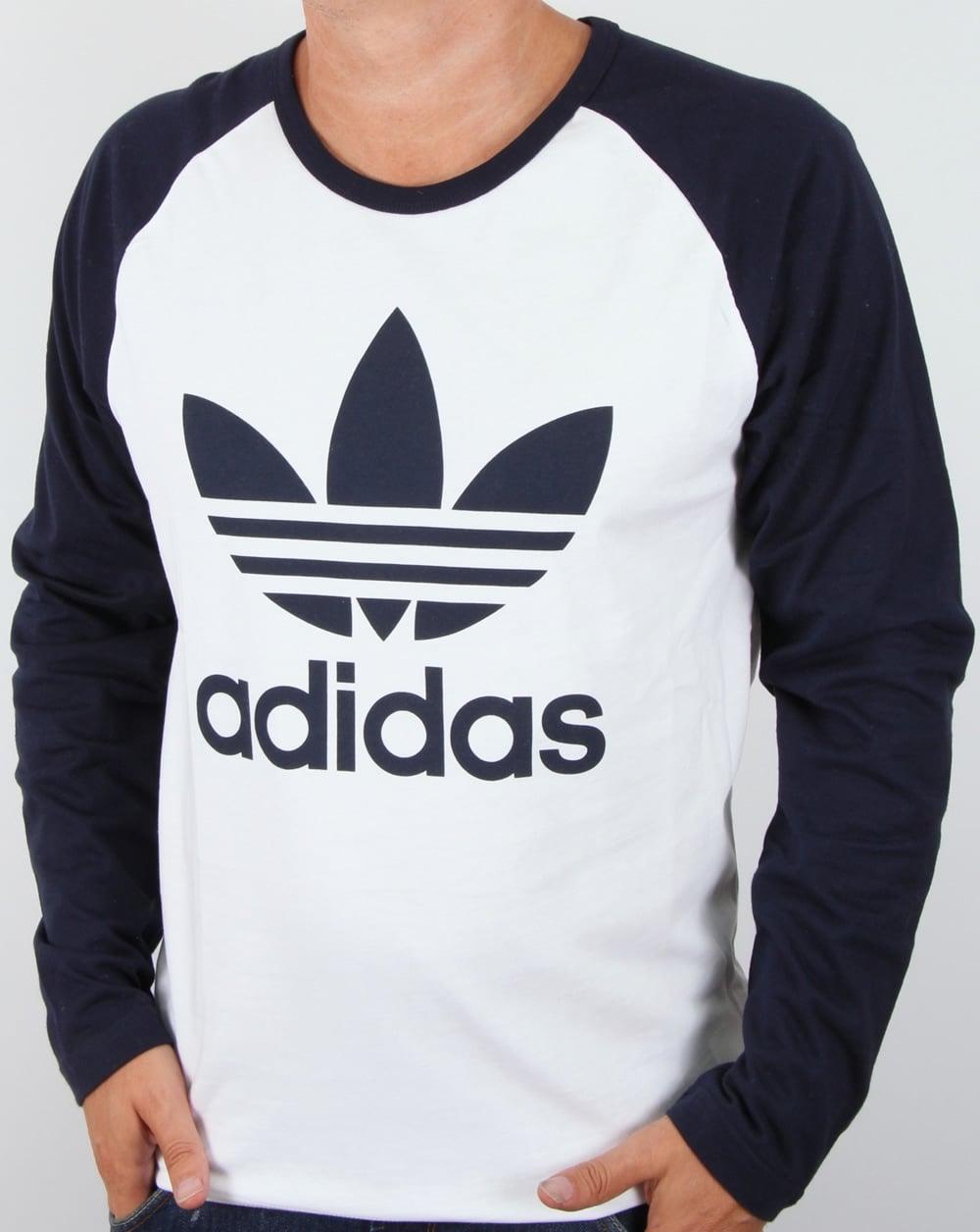 Adidas Originals Trefoil Long Sleeve Raglan T shirt WhiteNavy