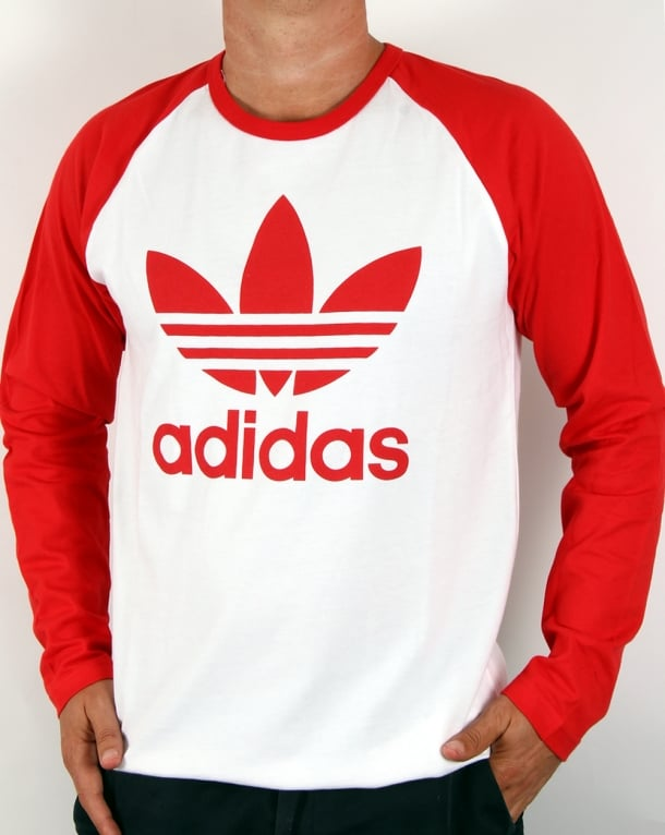 Adidas originals trefoil long sleeve t shirt white red for Adidas long sleeve t shirt with trefoil logo