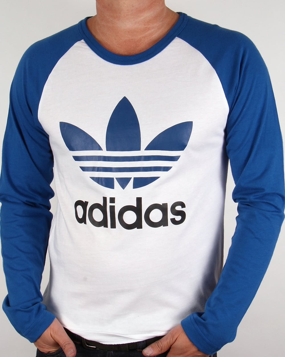Adidas originals trefoil long sleeve raglan t shirt white for Adidas ringer t shirt
