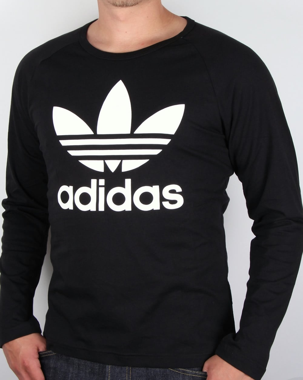 adidas originals trefoil long sleeve t shirt black tee mens. Black Bedroom Furniture Sets. Home Design Ideas