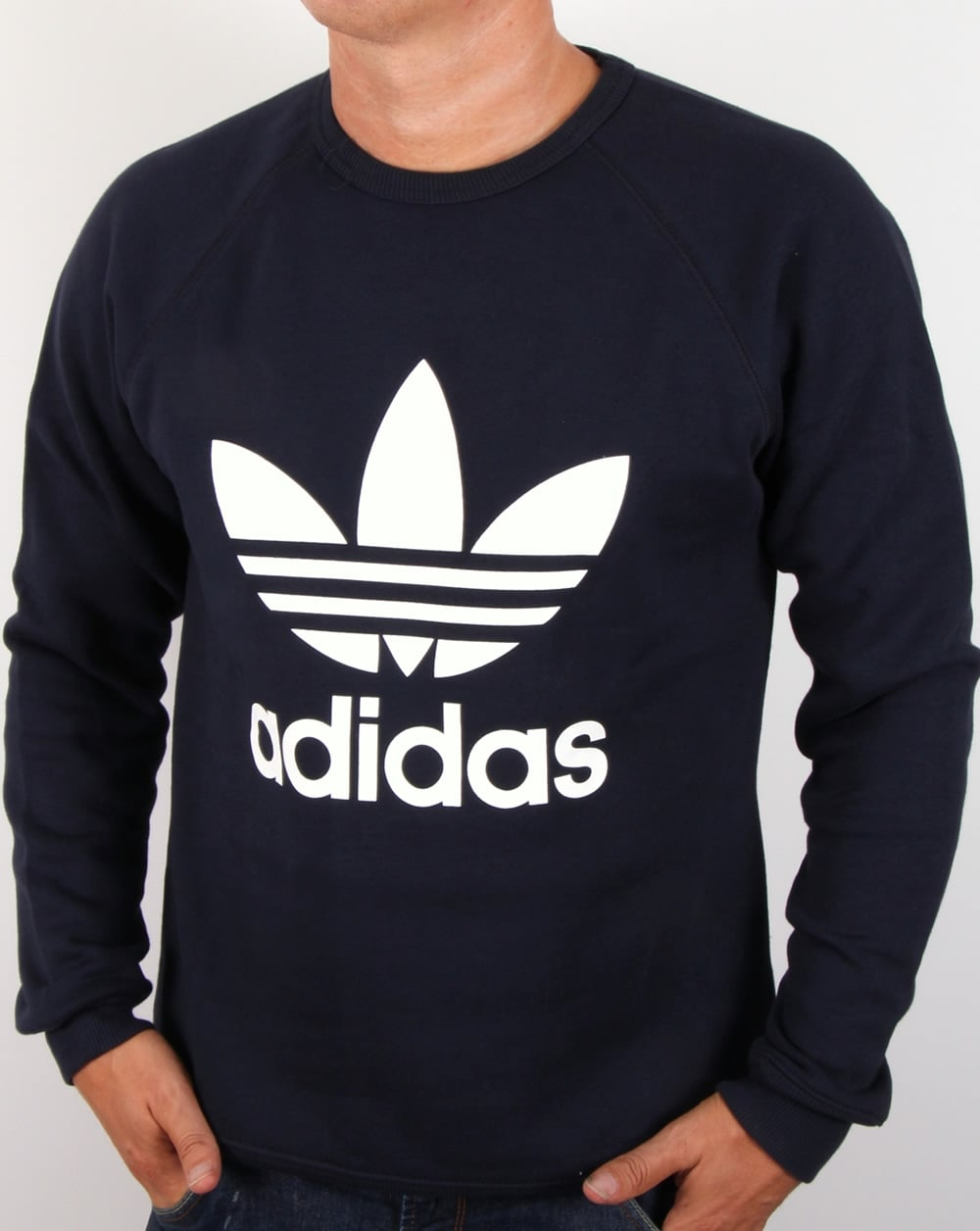 adidas originals trefoil sweatshirt legend ink jumper. Black Bedroom Furniture Sets. Home Design Ideas