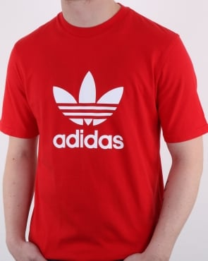 Adidas Originals Trefoil T Shirt Scarlet Red